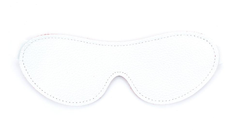 Белая кожаная маска на глаза на резинке