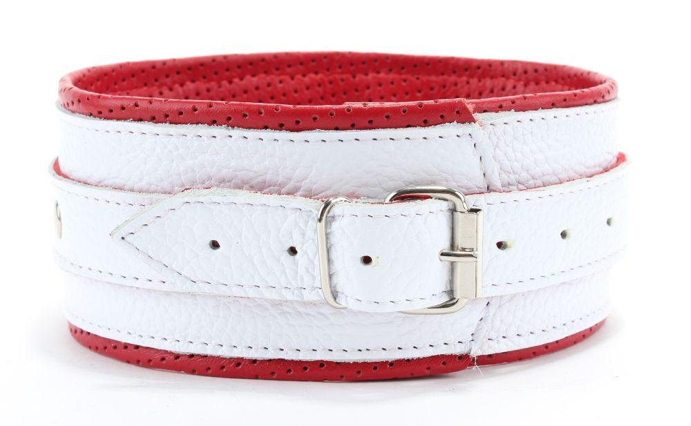 Бело-красный кожаный ошейник - фото 161921