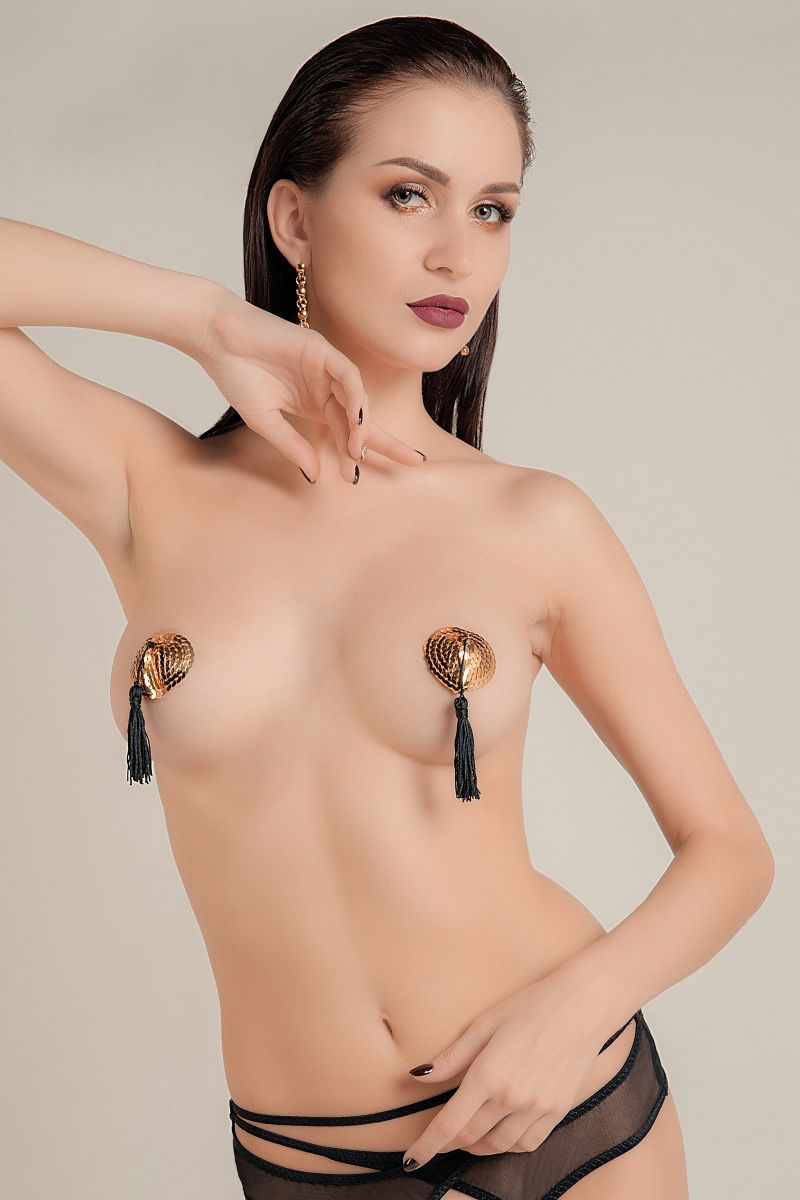 Золотистые пэстис Hearts With Tassels в форме сердец с кисточками