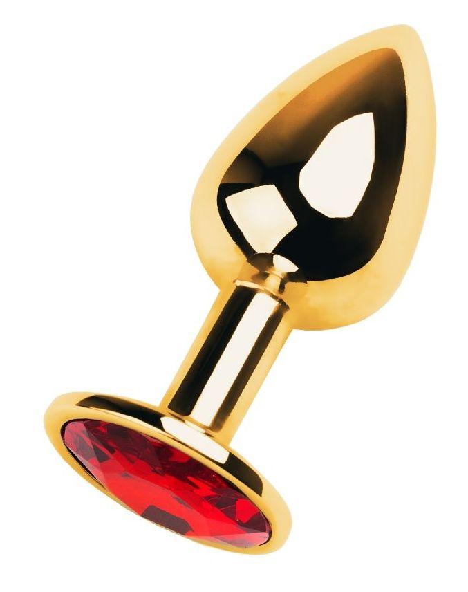 Золотистая коническая анальная пробка с красным кристаллом - 7 см. - фото 325564