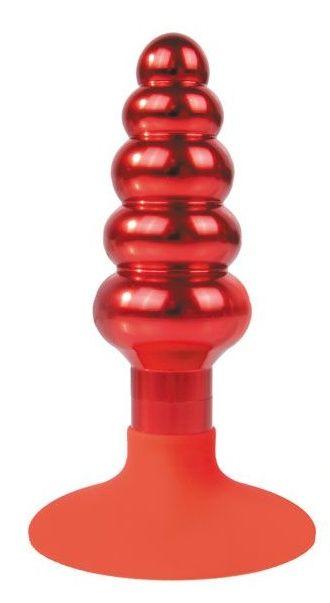 Красная анальная пробка-елочка с круглым ограничителем - 10 см.