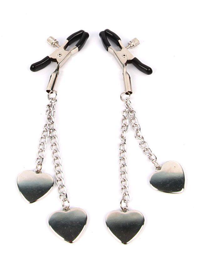 Серебристо-черные зажимы на соски с декором в виде сердечек - фото 223697