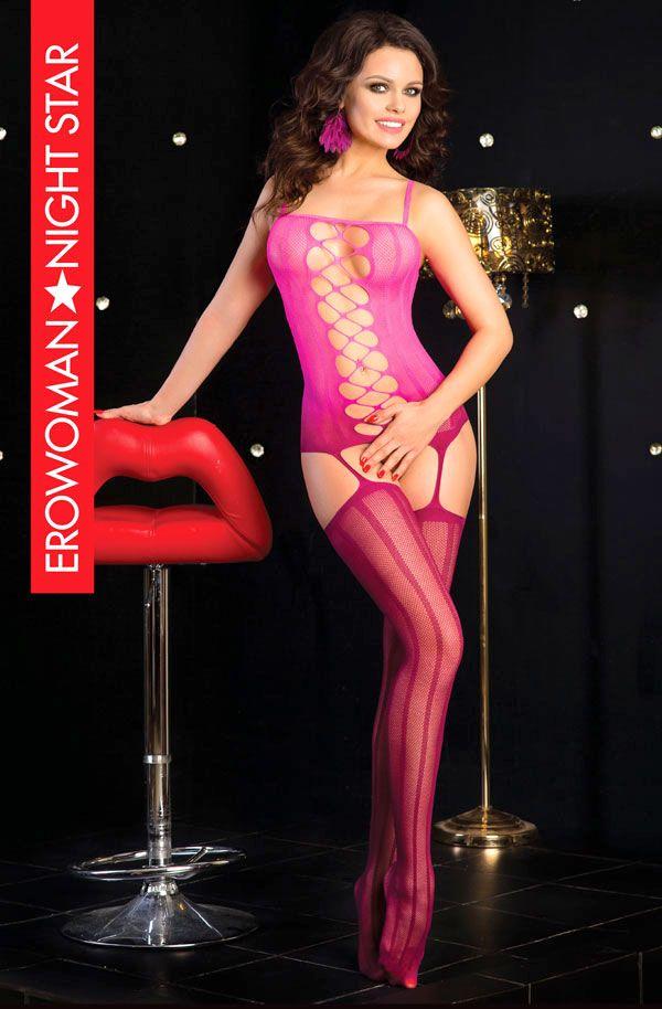 Розовый комбинезон-корсет с интимным доступом