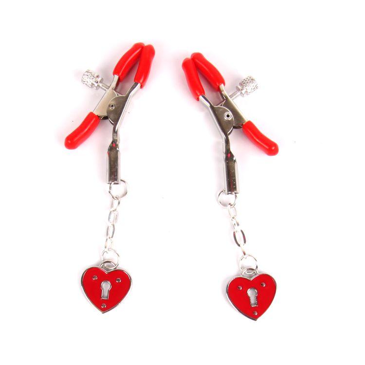 Красные металлические зажимы на соски с декором в виде сердечек на цепочке - фото 223873