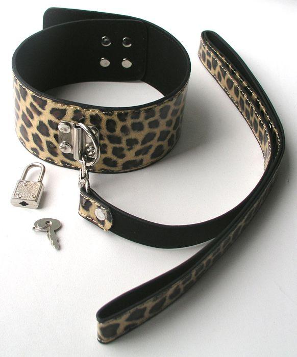 Широкий леопардовый ошейник с поводком