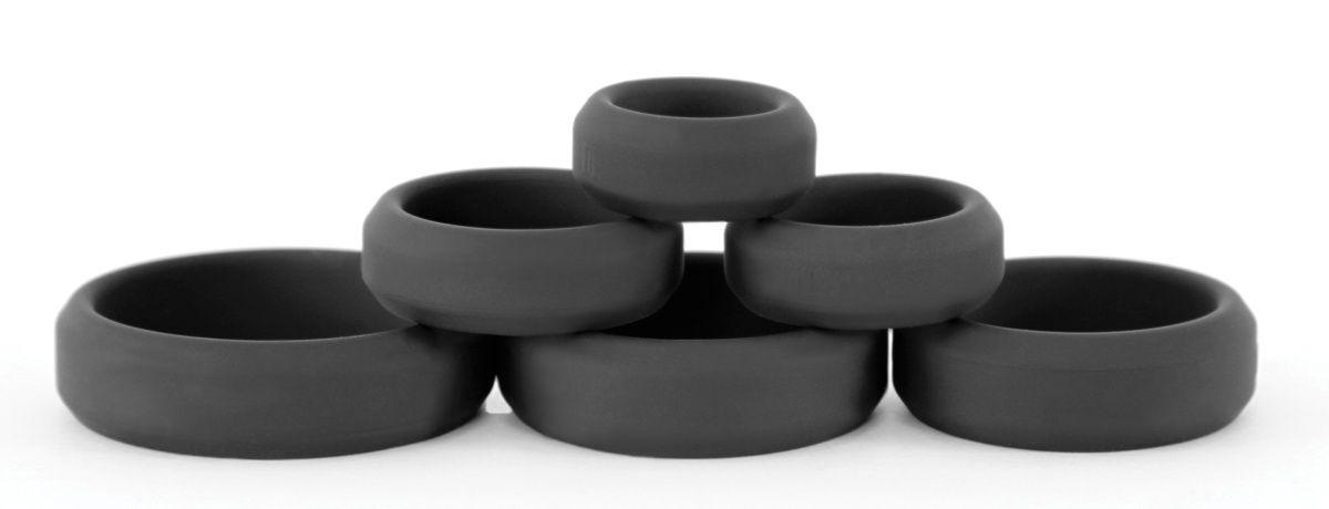 Набор черных эрекционных колец  Build A Cage Rings - фото 170139