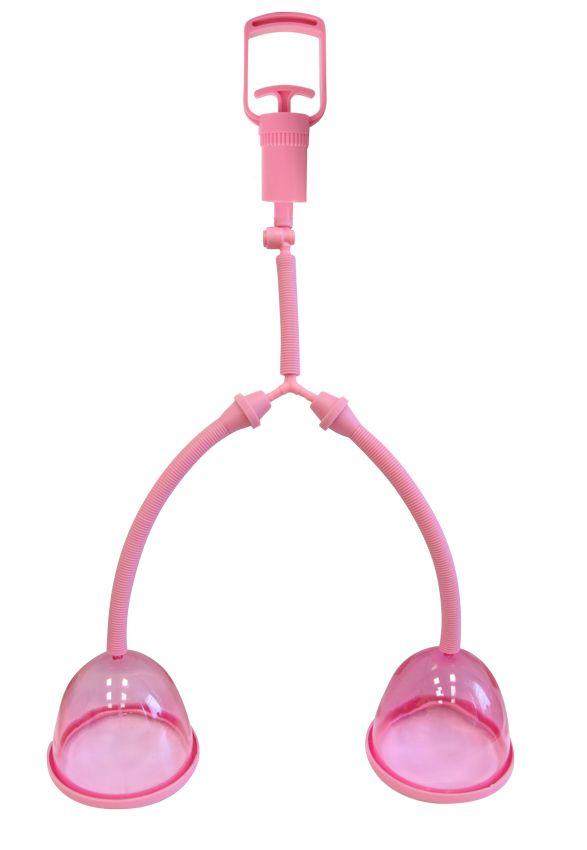 Розовая помпа для груди с двумя чашечками