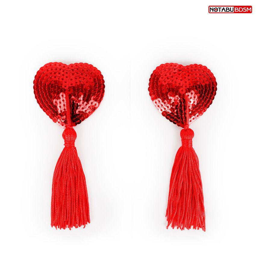 Красные текстильные пестисы в форме сердечек с кисточками - фото 254112