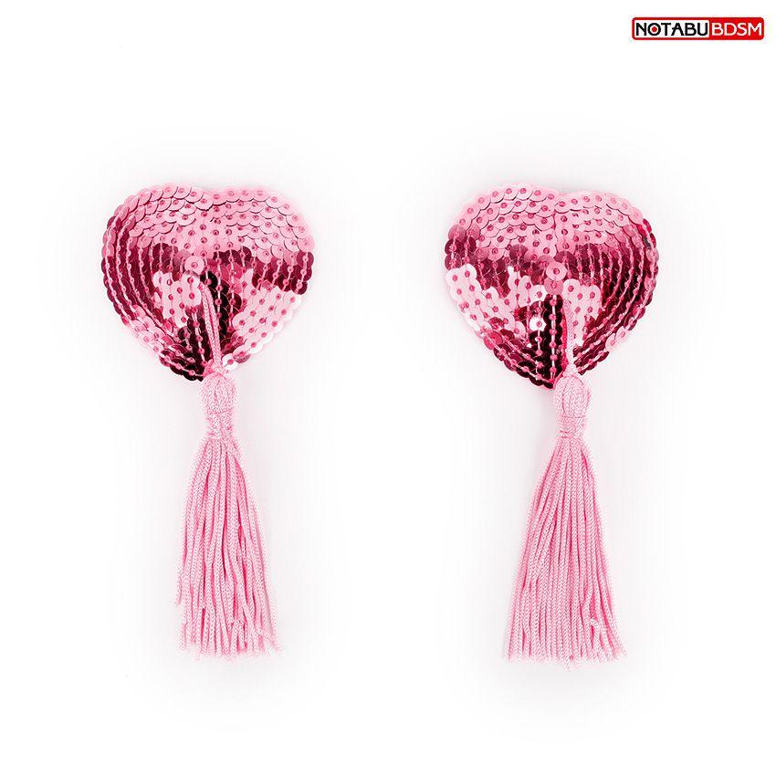 Розовые текстильные пестисы в форме сердечек с кисточками - фото 1189931