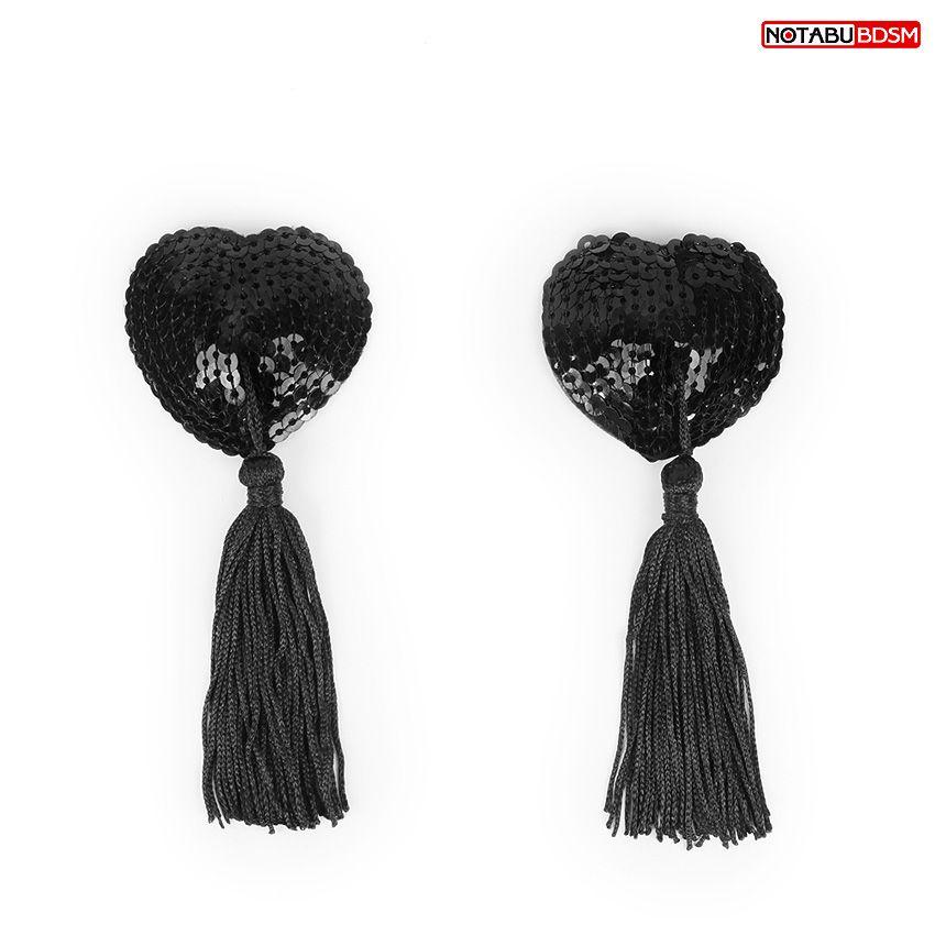 Черные текстильные пестисы в форме сердечек с кисточками - фото 254124