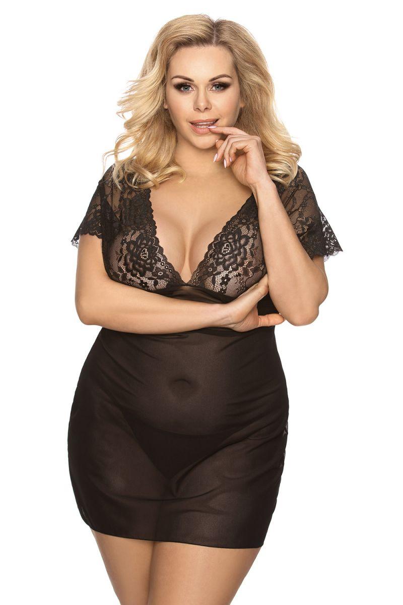 Прозрачная сорочка Marina с кружевным лифом - фото 1209211