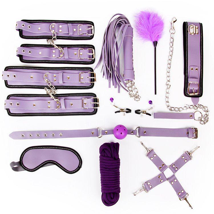 Большой фиолетовый набор БДСМ-аксессуаров