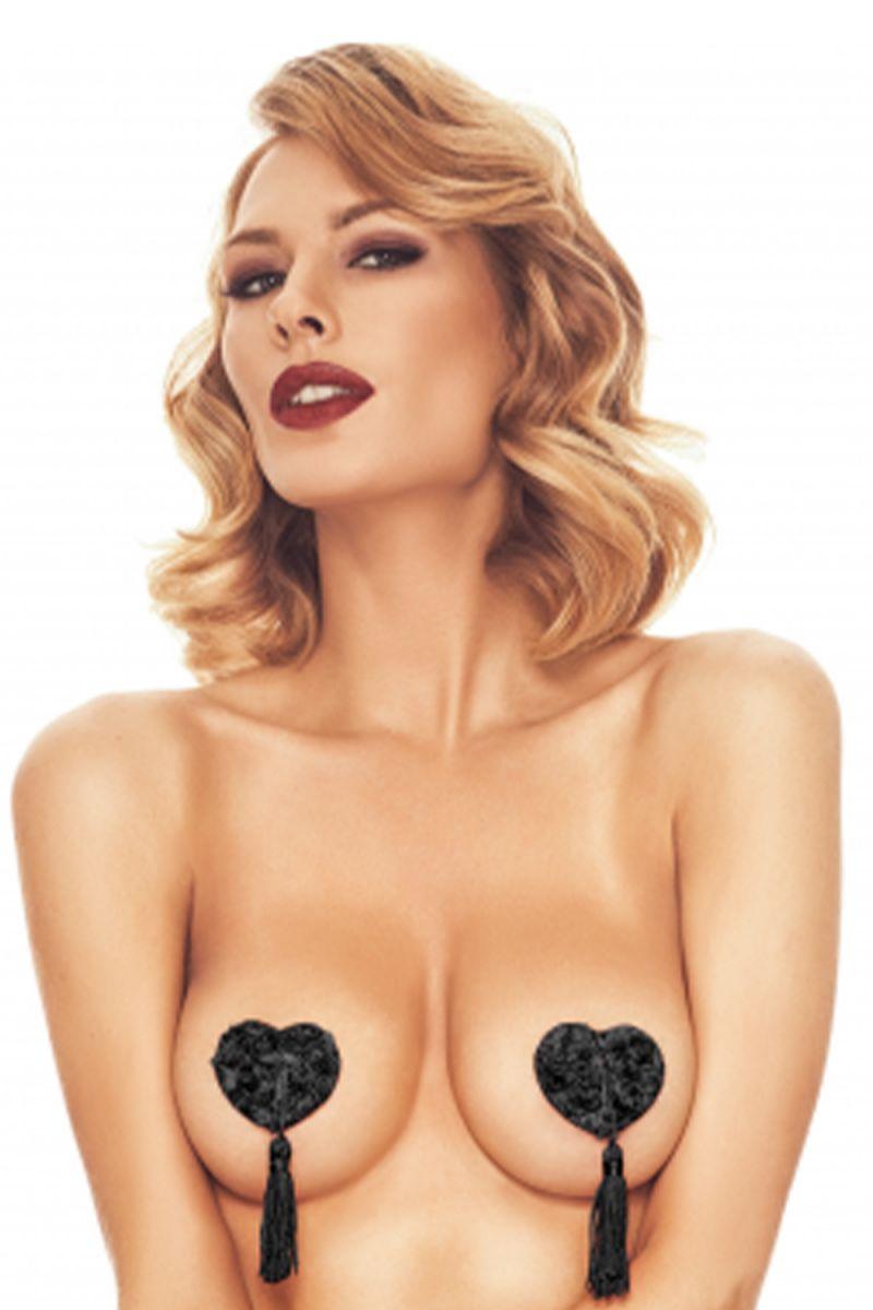 Черные пэстис в форме сердечек с кисточками Issy