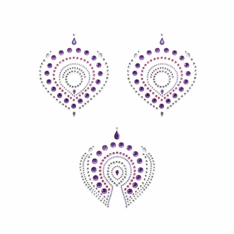 Фиолетово-розовые наклейки на грудь и зону бикини FLAMBOYANT