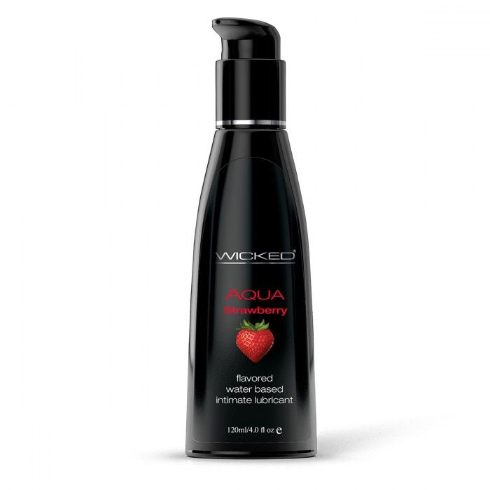 Лубрикант с ароматом клубники WICKED AQUA Strawberry - 120 мл.