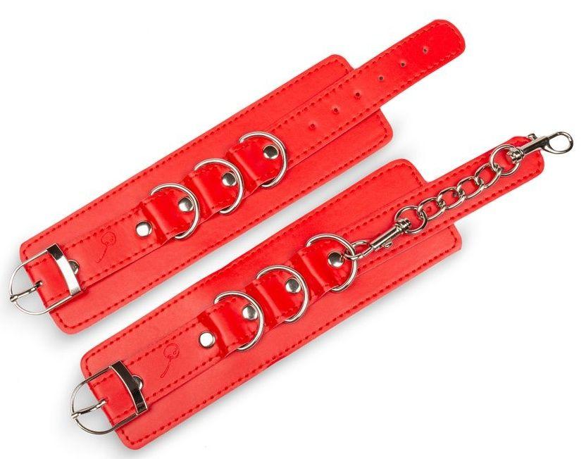 Красные наручники на застежках с цепочкой  - фото 1692397