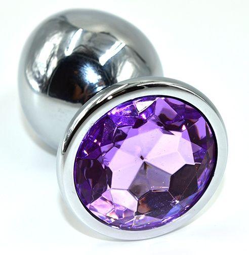 Серебристая анальная пробка из нержавеющей стали с фиолетовым кристаллом - 10 см. - фото 225248