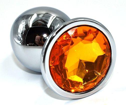 Серебристая анальная пробка из нержавеющей стали с желтым кристаллом - 10 см. - фото 225249