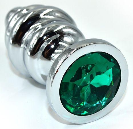 Серебристая анальная пробка из нержавеющей стали с зеленым кристаллом - 8,8 см.  - фото 225257