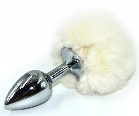 Серебристая округлая анальная пробка с заячьим хвостиком белого цвета - 11,5 см.