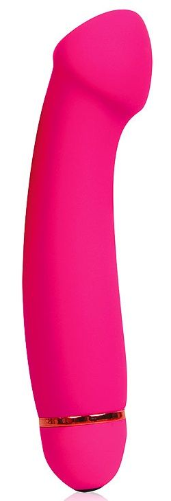 Розовый изогнутый вибромассажер с 20 режимами вибрации - 15 см.