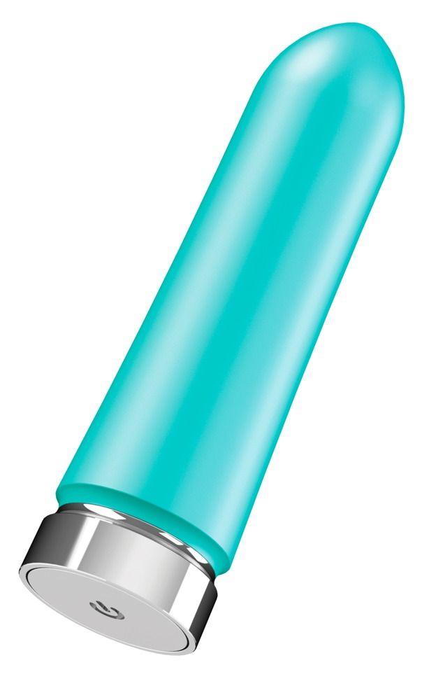 Бирюзовая перезаряжаемая вибропуля VeDO Bam - 9,7 см.