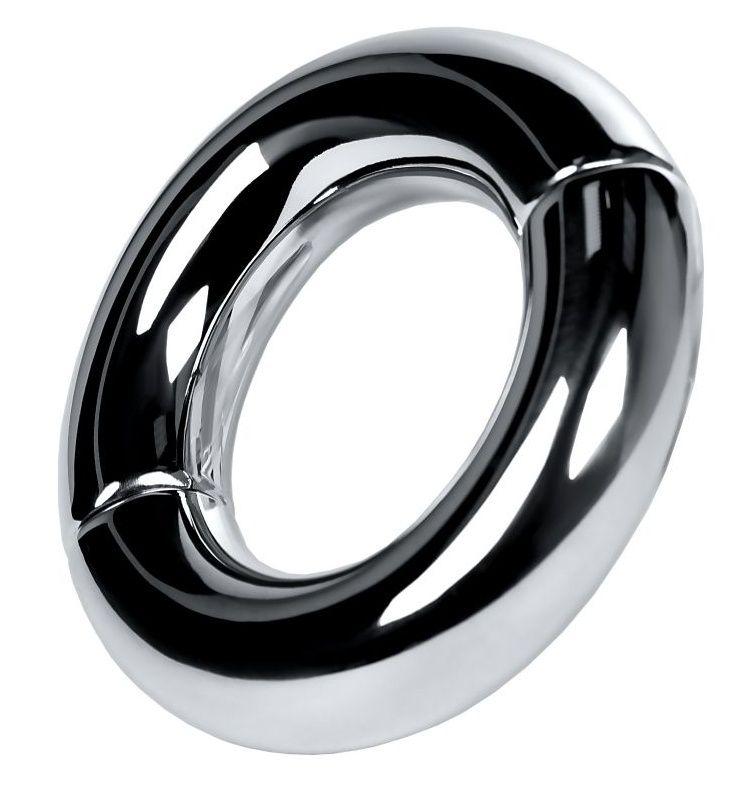 Серебристый утяжелитель на мошонку на магнитах