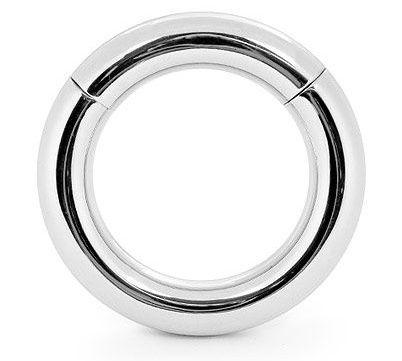 Серебристое среднее эрекционное кольцо на магнитах  - фото 362805
