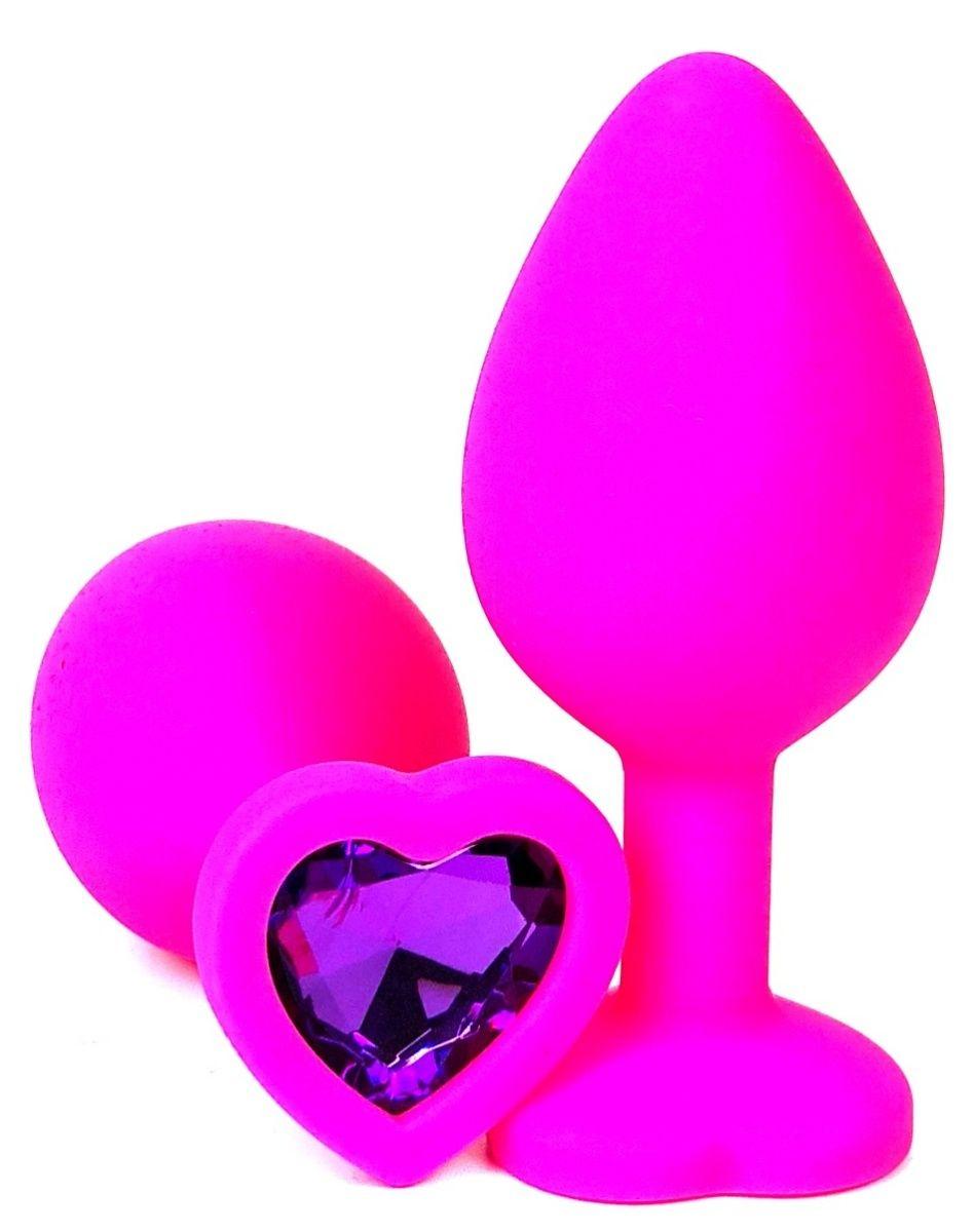 Розовая силиконовая пробка с фиолетовым кристаллом-сердцем - 8,5 см.
