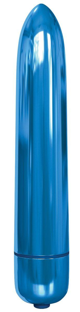 Голубая гладкая вибропуля Rocket Bullet - 8,9 см.