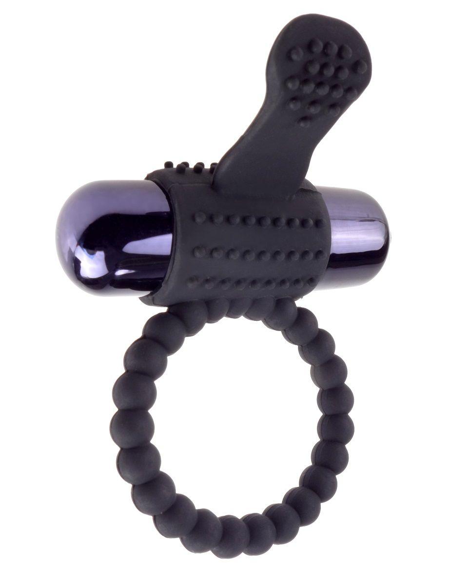 Черное эрекционное виброкольцо Vibrating Silicone Super Ring
