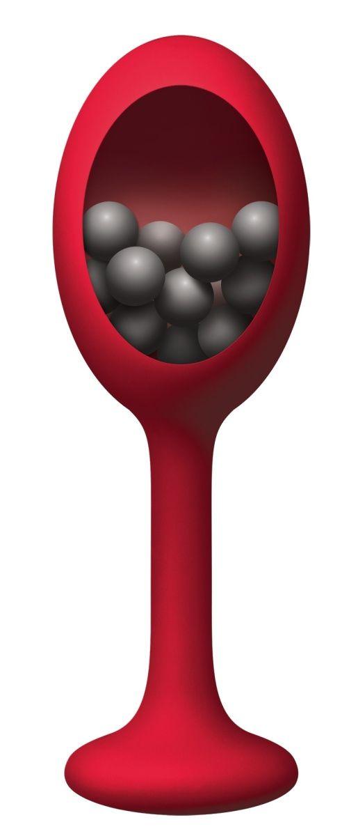Красная анальная пробка с шариками внутри Rattler - 12,7 см.