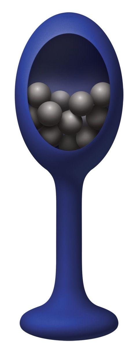 Синяя анальная пробка с шариками внутри Rattler - 12,7 см. - фото 1221510
