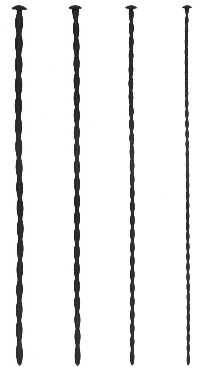 Набор из 4 черных стимуляторов уретры Spiral Screw Plug Set