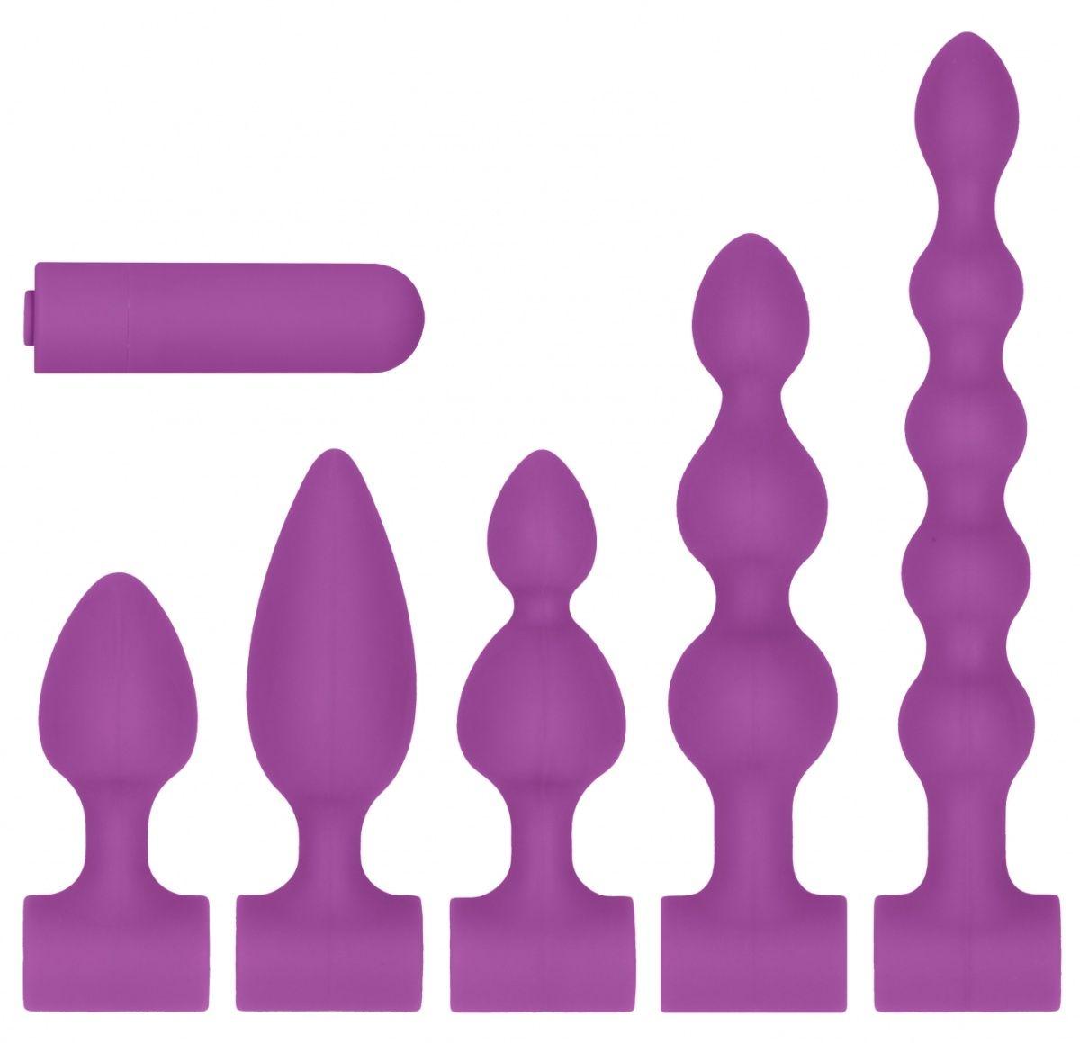 Фиолетовый анальный вибронабор USB-Rechargeable Anal Set