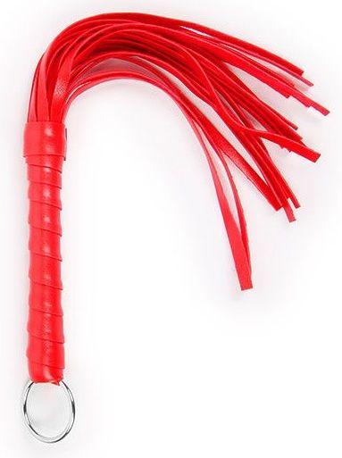 Красная плеть с рукоятью в оплетке - 28 см. - фото 366481
