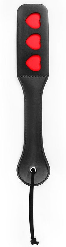 Черная шлепалка NOTABU с красными сердечками - 32 см. - фото 285251