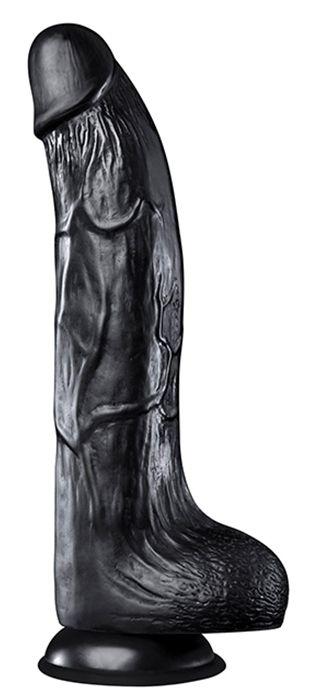 Черный фаллоимитатор HOODLUM 9INCH REALISTIC DONG - 23 см. - фото 731004