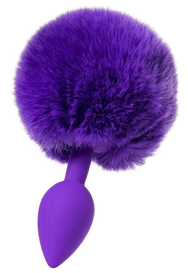 Фиолетовая анальная втулка Sweet bunny с фиолетовым пушистым хвостиком - фото 285685