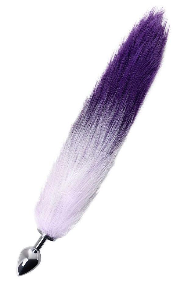 Серебристая металлическая анальная втулка с фиолетово-белым хвостом - размер M - фото 367311