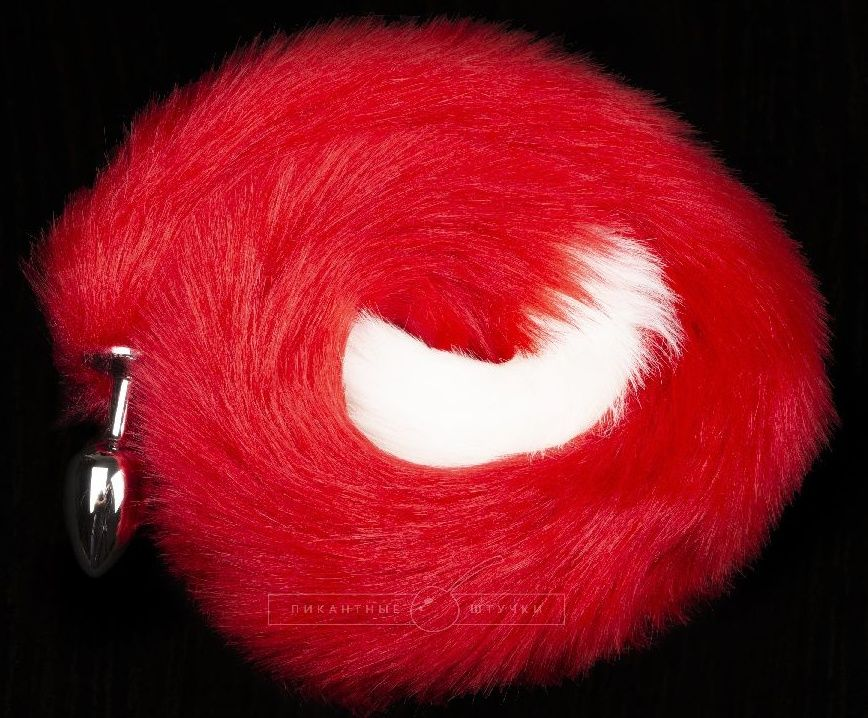 Серебристая анальная пробка с длинным красным хвостом - фото 1700956
