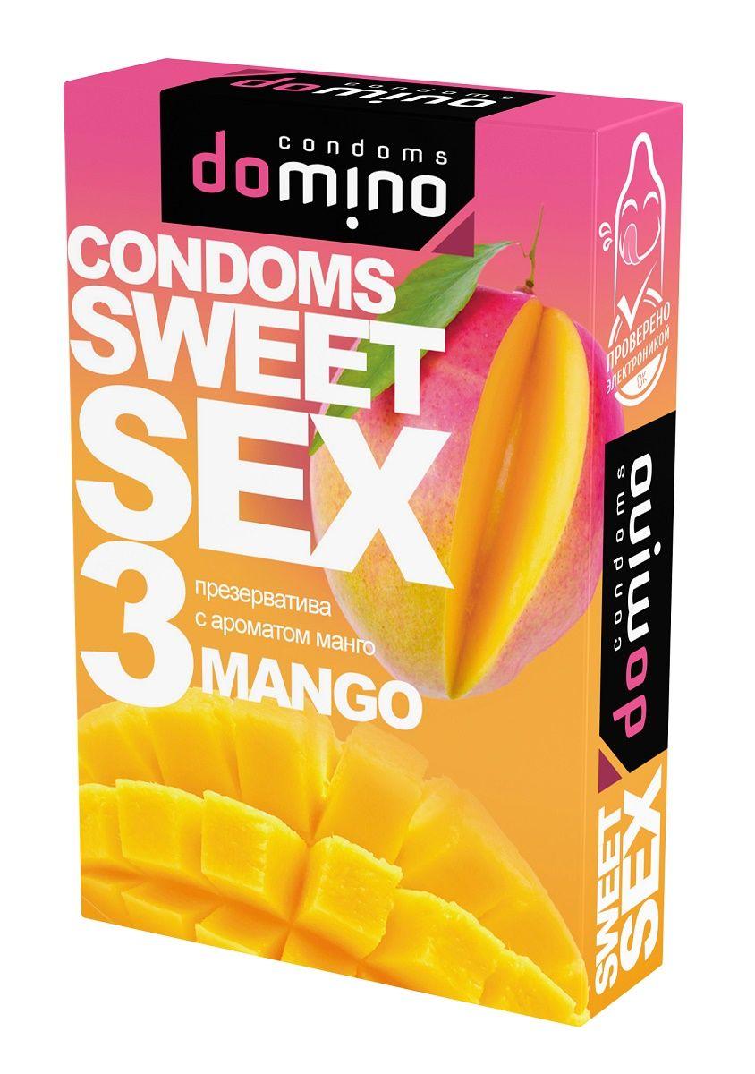 Презервативы для орального секса DOMINO Sweet Sex с ароматом манго - 3 шт.