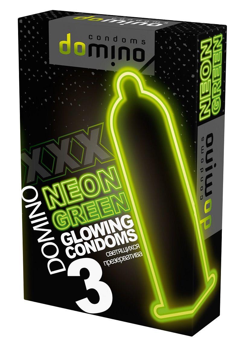 Презервативы DOMINO Neon Green со светящимся в темноте кончиком - 3 шт. - фото 198354