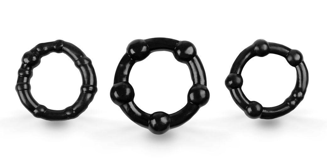 Набор из 3 эрекционных колец с бусинами