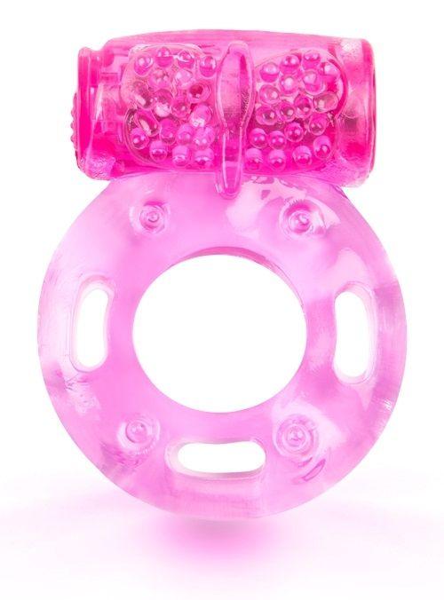 Розовое эрекционное кольцо с виброэлементом - фото 356837