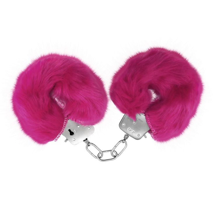 Розовые меховые наручники Love с ключиками - фото 360332