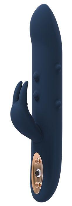 Синий вибромассажер-кролик ALPHEUS - 23 см. - фото 371846