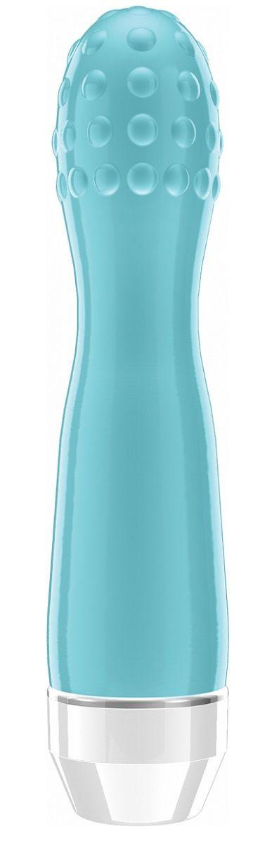 Голубой вибратор Lowri с покрытой шишечками головкой - 15 см.