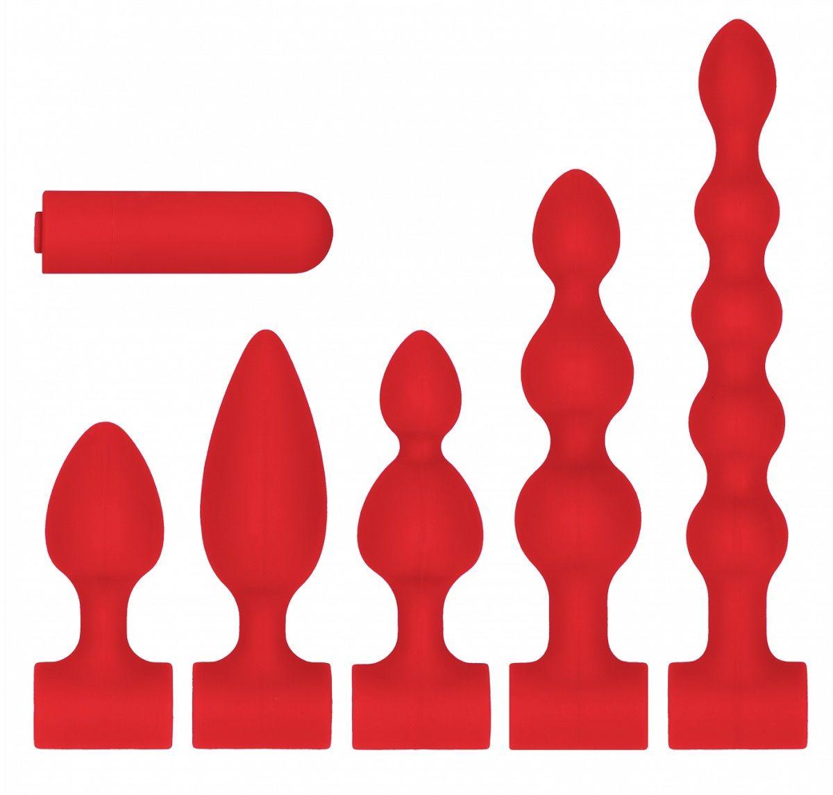 Красный анальный вибронабор USB-Rechargeable Anal Set - фото 368640