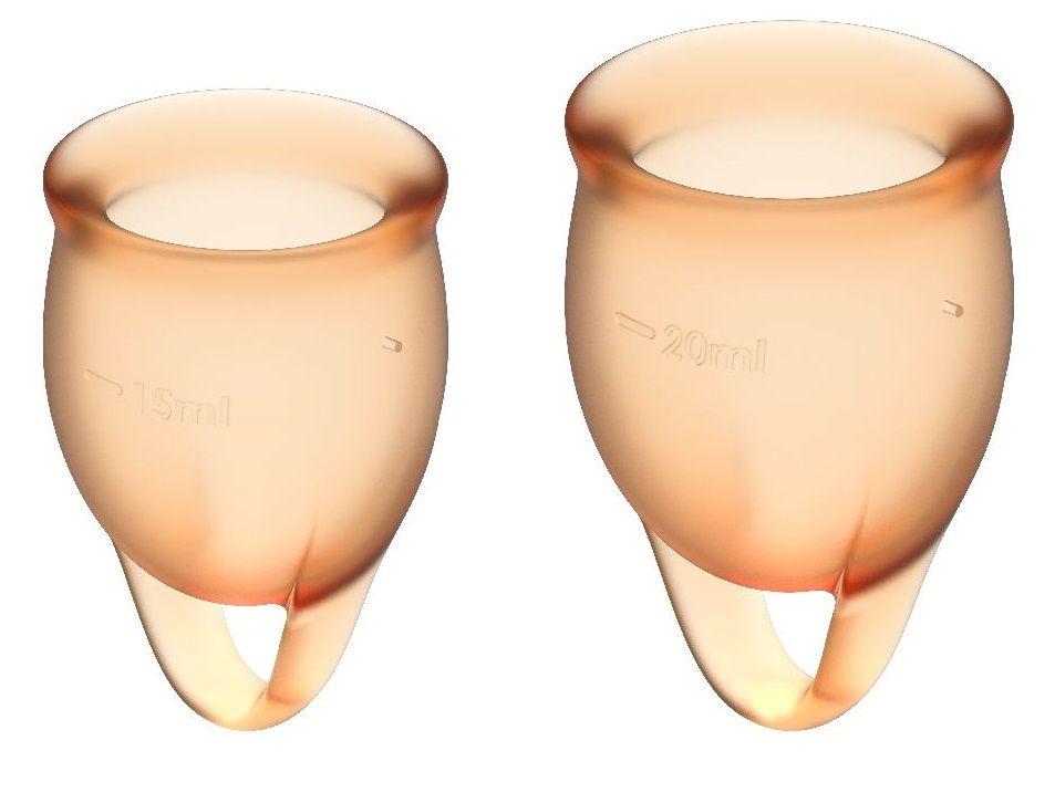 Набор оранжевых менструальных чаш Feel confident Menstrual Cup - фото 262905